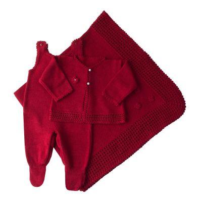 Saída de maternidade jardineira, casaco e manta flores - Vermelho