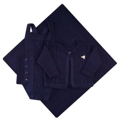 Saída de maternidade jardineira com jadineira, casaco e manta - Azul marinho
