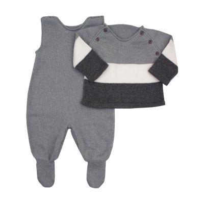 Saída de maternidade jardineira e casaco - Cinza e branco