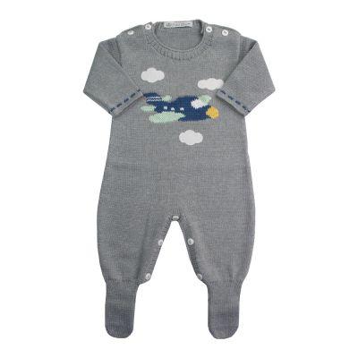Macacão bebê avião - Cinza