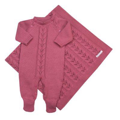 Saída de maternidade macacão e manta - Rosa cravo
