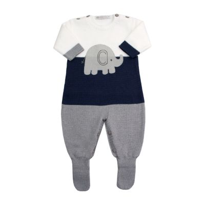 Macacão bebê elefante - Branco, azul marinho e cinza