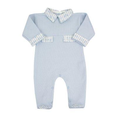 Saída de maternidade macacão em algodão - Azul bebê