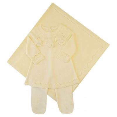 Saída de maternidade margaridas vestido, calça e manta - Amarelo bebê