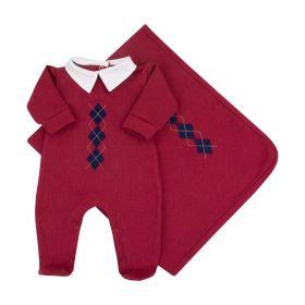 Saída de maternidade masculina macacão e manta em algodão - Vermelho