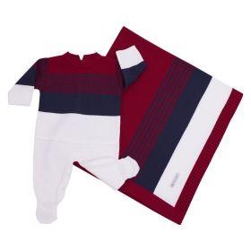 Saída de maternidade masculina 2 peças - Azul Marinho e Branco