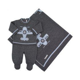 Saída de maternidade masculina avião 2 peças - Cinza