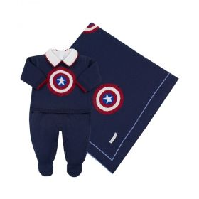 Saída de maternidade masculina capitão américa - Azul marinho