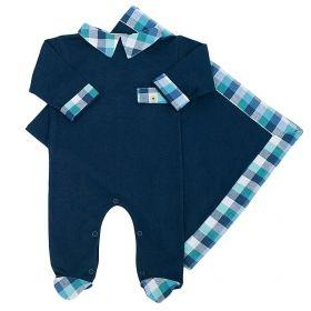 Saída de maternidade masculina em algodão - Azul marinho