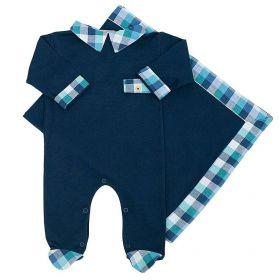Saída de maternidade masculina macacão e manta em algodão - Azul marinho