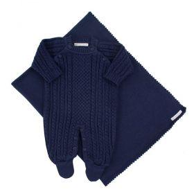 Saída de maternidade masculina em tricot 2 peças - Azul marinho