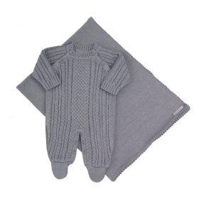 Saída de maternidade masculina em tricot 2 peças - Cinza