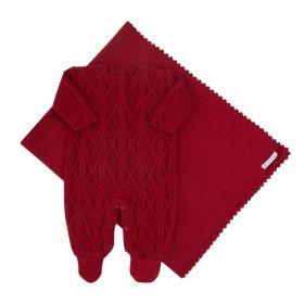 Saída de maternidade masculina em tricot 2 peças - Vermelho