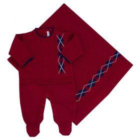 Saída de maternidade masculina escocês 2 peças - Vermelho