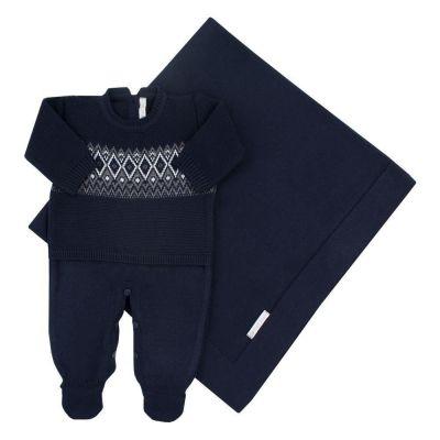 Saída de maternidade masculina macacão e manta faixa jacquard - Azul marinho