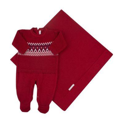 Saída de maternidade masculina macacão e manta faixa jacquard - Vermelho