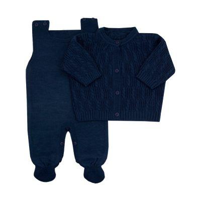Saída de maternidade masculina macacão e casaco corda - Azul marinho
