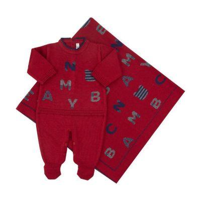 Saída de maternidade masculina macacão e manta letras - Vermelha