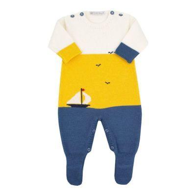 Saída de maternidade masculina macacão barquinho - Jeans, amarelo e off white