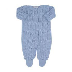 Saída de maternidade masculina macacão com botões - Azul bebê