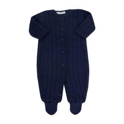 Saída de maternidade masculina macacão com botões - Azul marinho