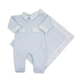 Saída de maternidade masculina macacão e manta em algodão - Azul bebê