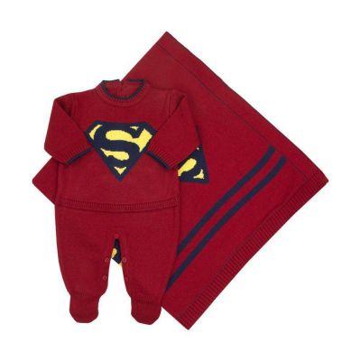 Saída de maternidade masculina macacão e manta super bebê - Vermelho