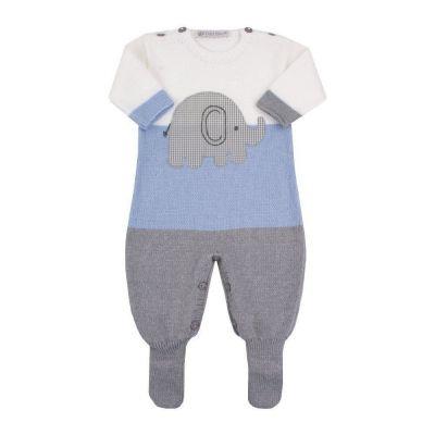 Macacão bebê elefante - Azul bebê, cinza e branco