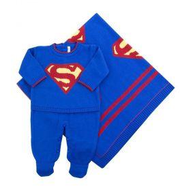 Saída de maternidade masculina super bebê - Azul bic