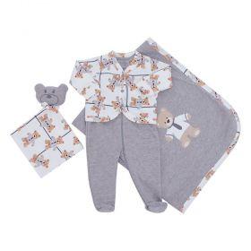 Saída de maternidade masculina ursinho com gravata - Off white e cinza