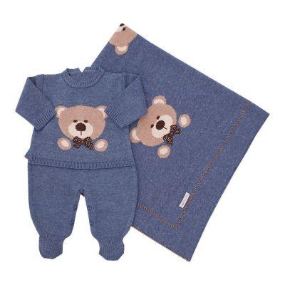 Saída de maternidade masculina urso 2 peças - Jeans