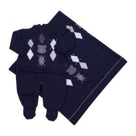Saída de maternidade masculina urso escocês 2 peças - Azul profundo