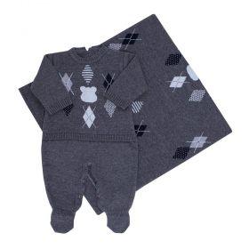 Saída de maternidade masculina urso escocês 2 peças - Cinza