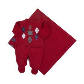 Saída de maternidade masculina urso escocês 2 peças - Vermelho