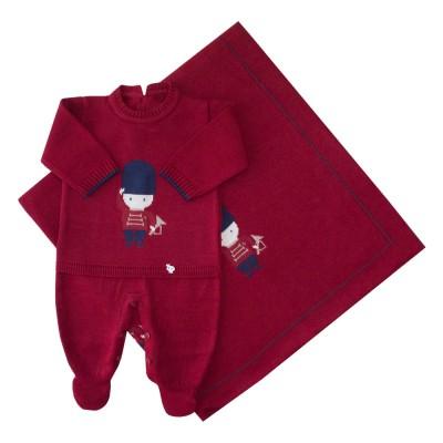 Saída de maternidade soldadinho macacão e manta - Vermelho red night