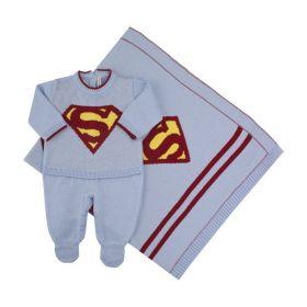Saída de maternidade super bebê - Azul bebê