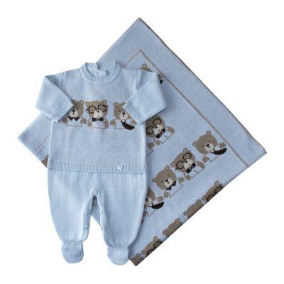 Saída de maternidade trio de ursos macacão e manta - Azul pó