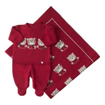Saída de maternidade trio de ursos macacão e manta - Vermelho red night