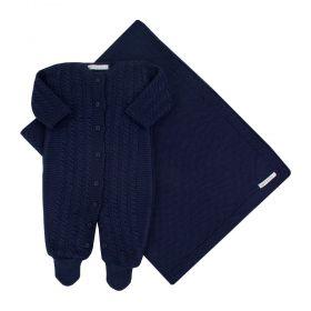 Saída de maternidade em tricot masculina - Azul marinho