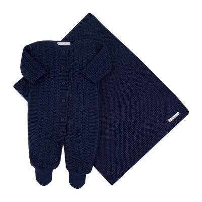 Saída de maternidade masculina macacão e manta capri - Azul marinho