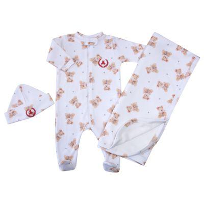 Saída de maternidade ursinha macacão, manta e gorro - Off white