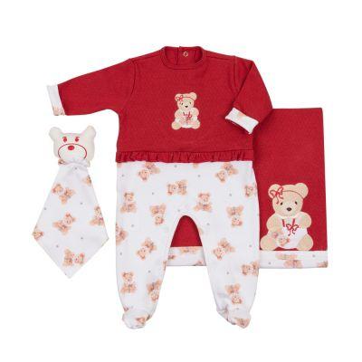 Saída de maternidade ursinho com babada macacão, manta e naninha - Vermelho