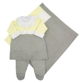 Saída maternidade listras em tricot 4 peças - Cinza, amarelo e branco