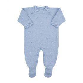 Saída maternidade macacão bolinha - Azul bebê