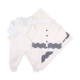 Saída maternidade masculina em tricot 4 peças - Off white e azul marinho