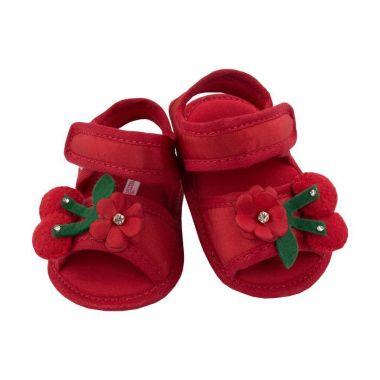 Sandália bebê com flor e cereja - Vermelho