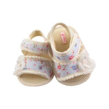 Sandália bebê floral - Azul bebê