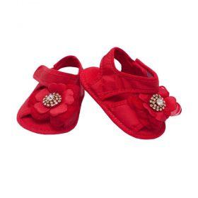 Sandália de bebê bordada - Vermelho