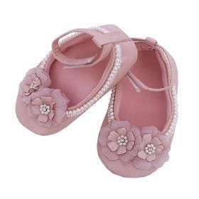Sapatilha bebê 2 flores - Rosa seco
