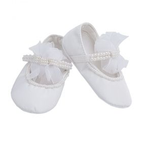 Sapatilha bebê bordada com pérolas - Branco